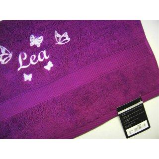 Handtuch mit Name und Schmetterlingen