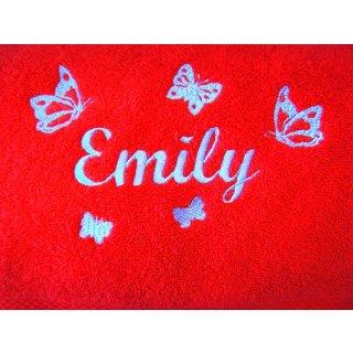 Badetuch mit Name und Schmetterlingen